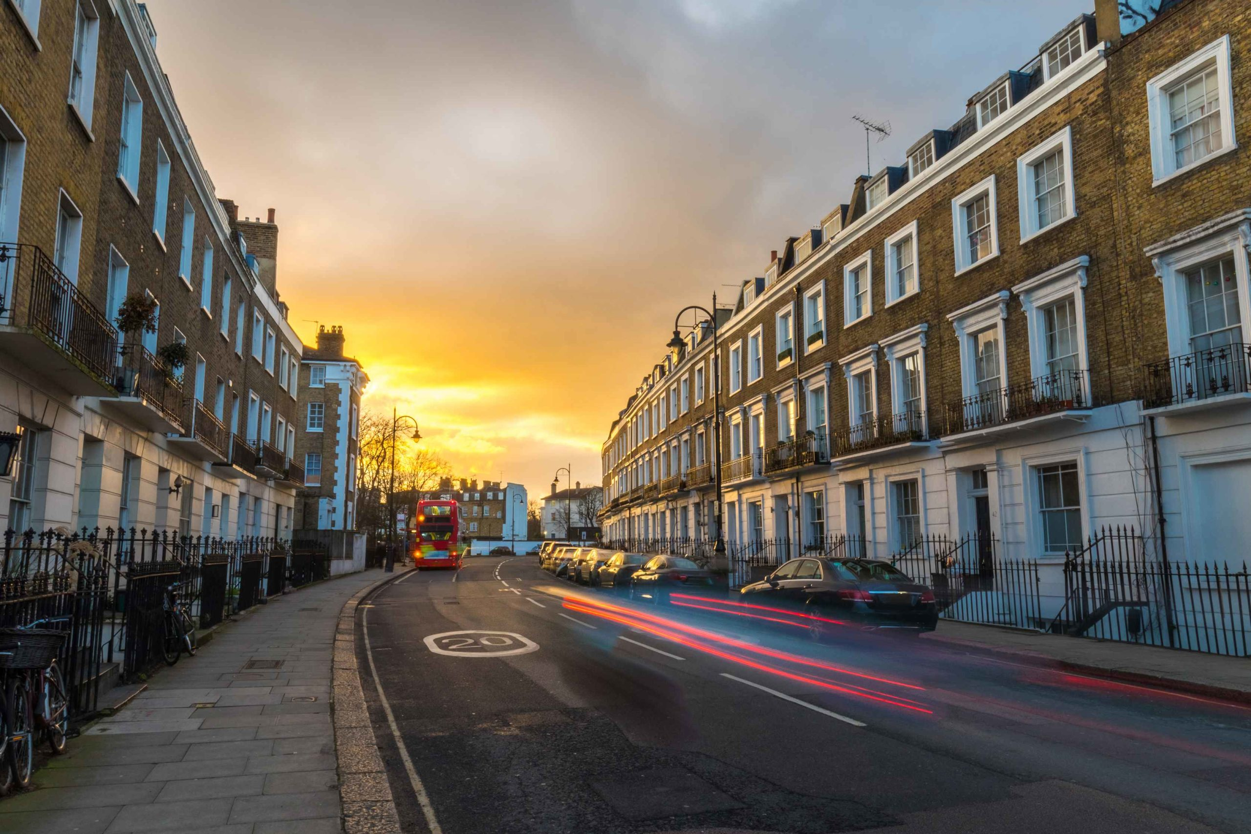 Row of houses in London at dusk