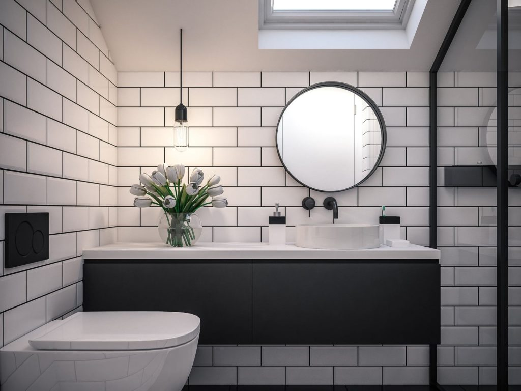 Stylish Bathroom with Pendant Lights
