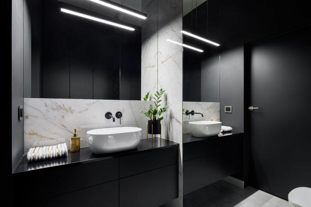 Glossy Dark Bathroom