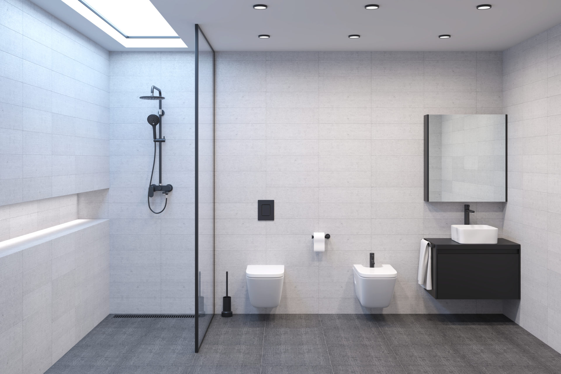 Minimalist modern bright shower room with a daylight lamp in the ceiling to create the illusion of a window. Dark hardware to create contrast with light walls. Shower, toilet, bidet and washbasin with mirror. Front view.